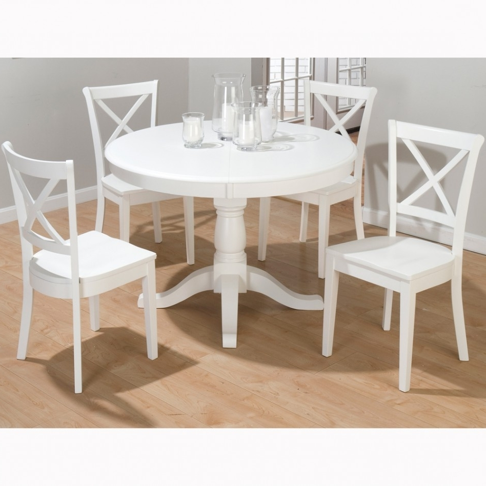 White Round Extending Dining Tables Inside Fashionable Dining Table: Entrancing White Dining Room Decoration Using White (View 8 of 25)