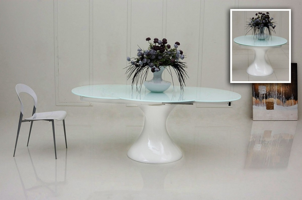 White Round Extending Dining Tables Pertaining To Famous 1Perfectchoice Modrest Modern Extendable Round White Glass Top (View 14 of 25)