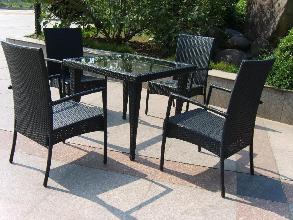 Wicker And Glass Dining Tables In Recent Trendy Black Wicker Furniture For Rattan Dining Set With Glass Table (View 19 of 25)