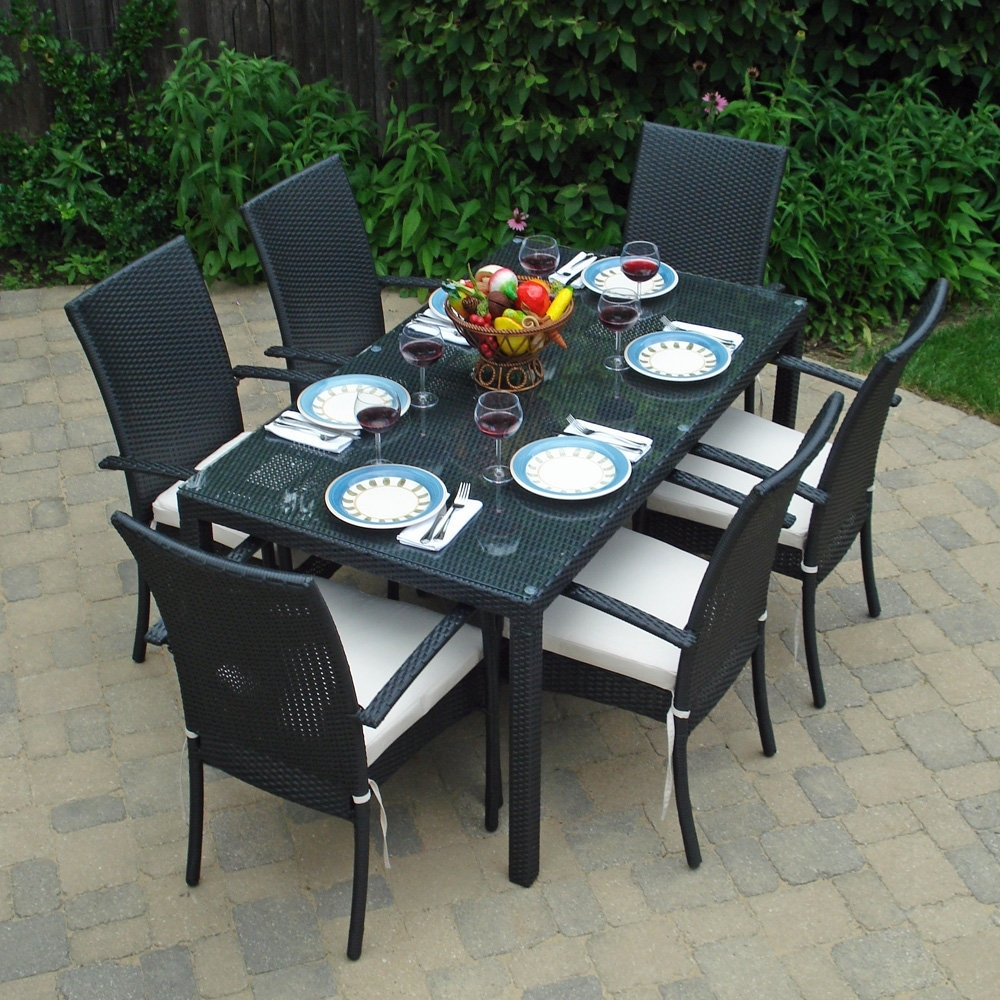Wicker And Glass Dining Tables Inside 2017 Patio: Interesting Patio Dining Sets On Clearance Outdoor Dining (View 16 of 25)