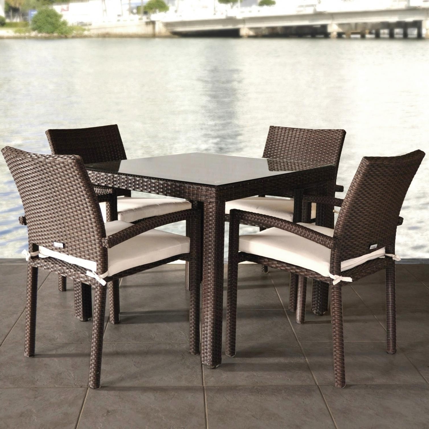 Wicker And Glass Dining Tables Pertaining To Widely Used Round Glass Dining Table Sets For 4 Best Of Atlantic Liberty  (View 3 of 25)