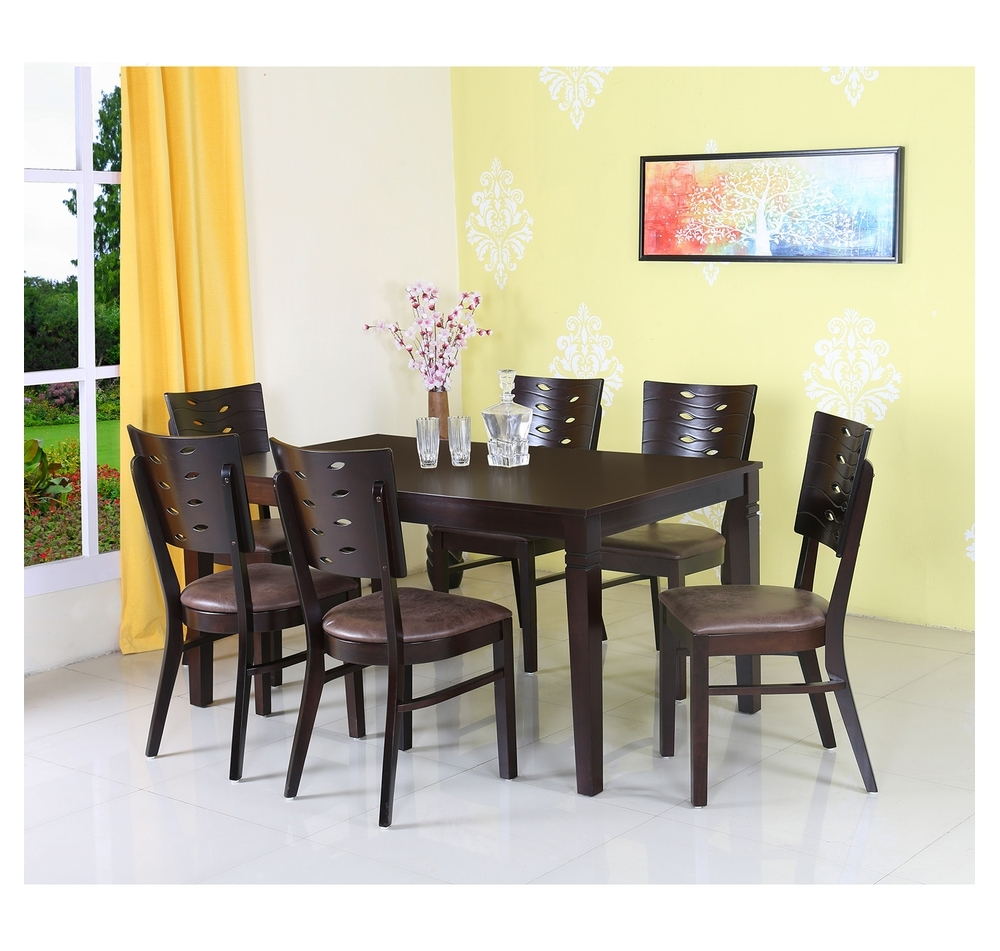 Widely Used 6 Seat Dining Tables And Chairs Inside Buy Fern 6 Seater Dining Set, Erin Brown Online – At Home (View 7 of 25)