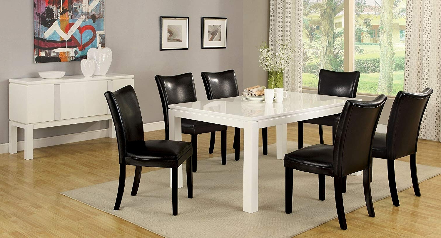 Widely Used Amazon – Furniture Of America Basic Modern Rectangular High Regarding White High Gloss Dining Tables 6 Chairs (View 25 of 25)
