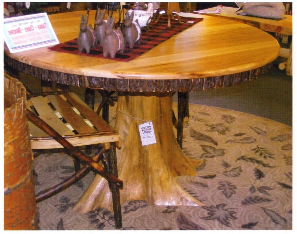 """Widely Used Amish Rustic Dining Table 48"""" Round Tree Trunk Stump Root Base Cabin With Regard To Tree Dining Tables (View 24 of 25)"""