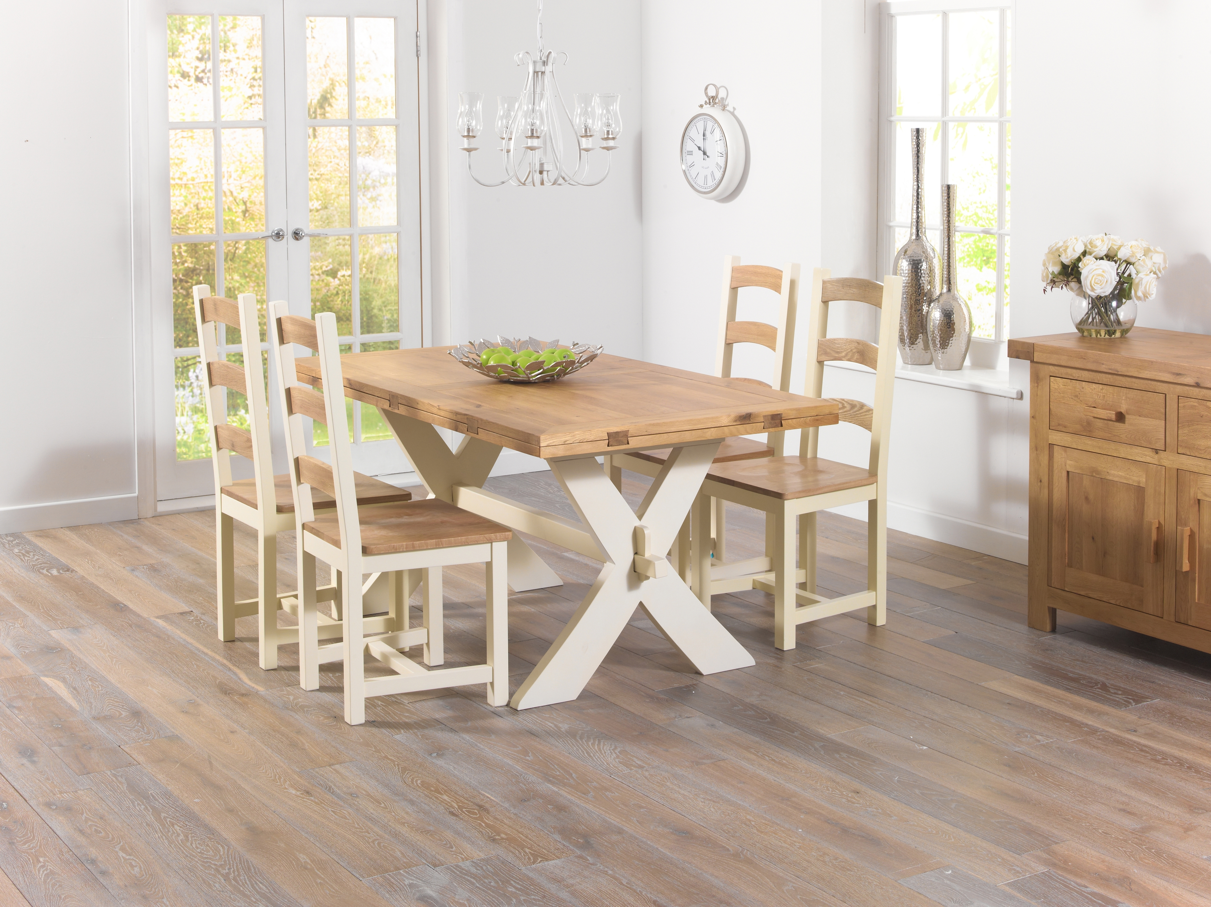 Widely Used Avignon Oak And Cream All Sides Dining Table + Marino Chairs – £ (View 25 of 25)