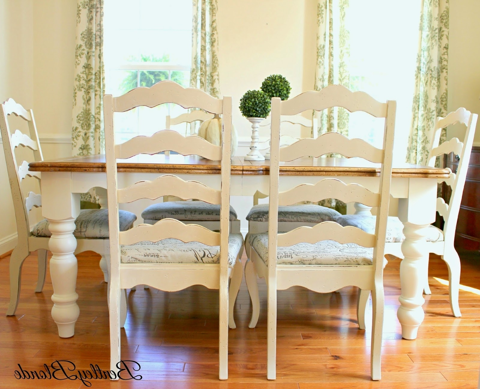 Widely Used Bentleyblonde: Diy Farmhouse Table & Dining Set Makeover With Annie With Ivory Painted Dining Tables (View 4 of 25)