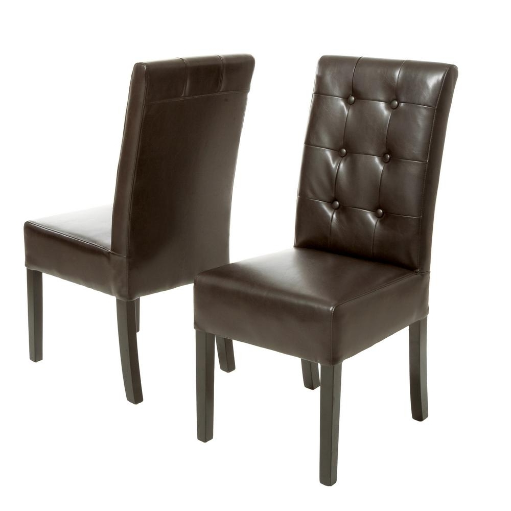 Widely Used Brown Leather Dining Chairs Regarding Noble House Jace Brown Leather Button Tufted Dining Chair (Set Of (View 15 of 25)