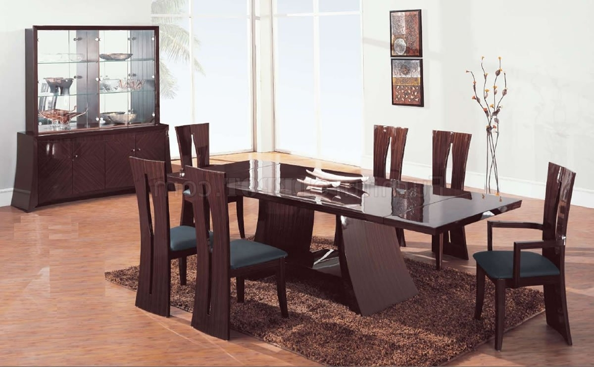 Widely Used Brown Zebrano High Gloss Finish Contemporary Dining Room In Contemporary Dining Room Chairs (View 24 of 25)