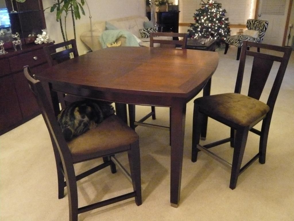 Widely Used Caden 5 Piece Round Dining Sets With Upholstered Side Chairs Regarding Awesome Counter Height Dining Table Pros And Cons (View 23 of 25)