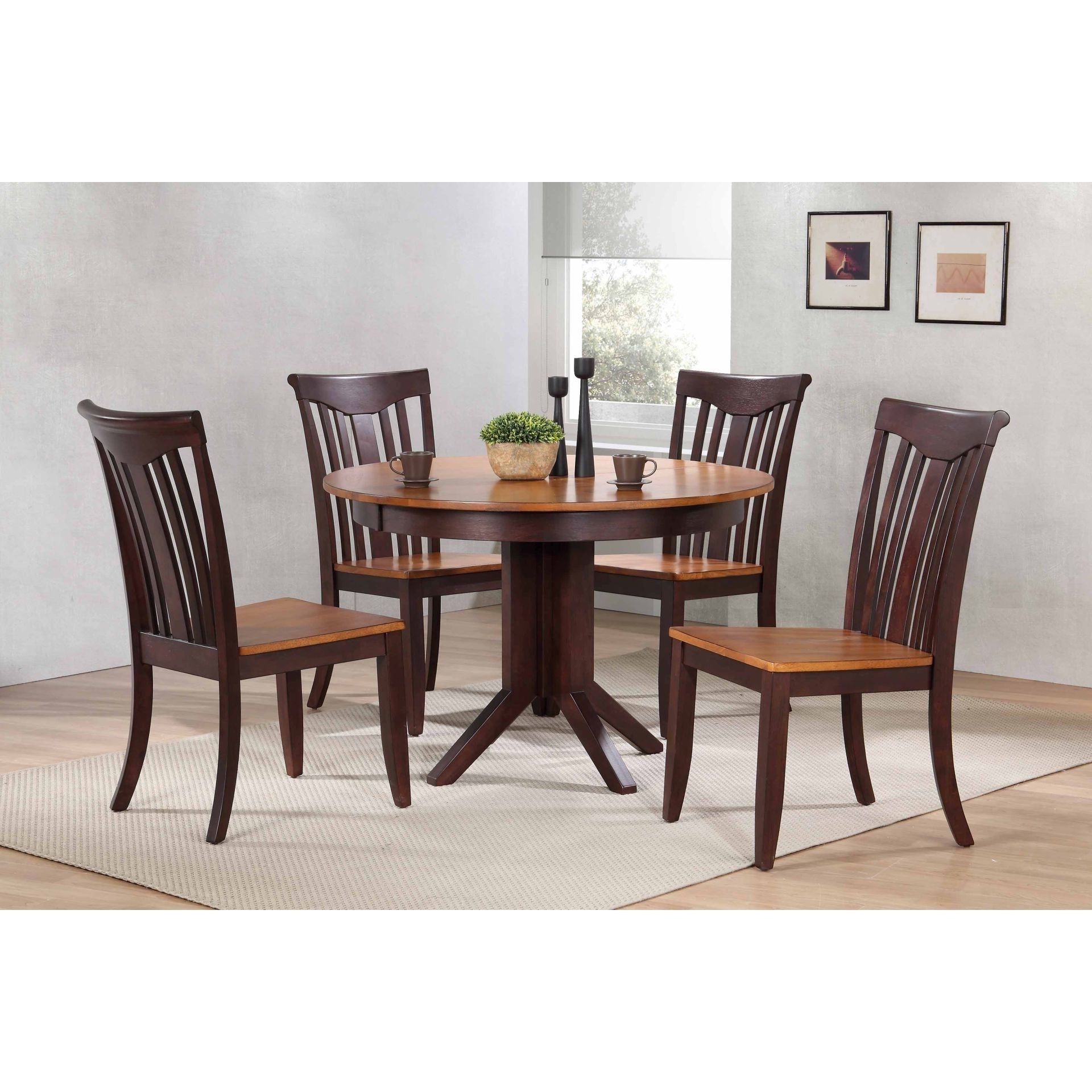 """Widely Used Caden 5 Piece Round Dining Sets With Upholstered Side Chairs With Shop Iconic Furniture Company 45""""x45""""x63"""" Contemporary Whiskey/mocha (View 10 of 25)"""