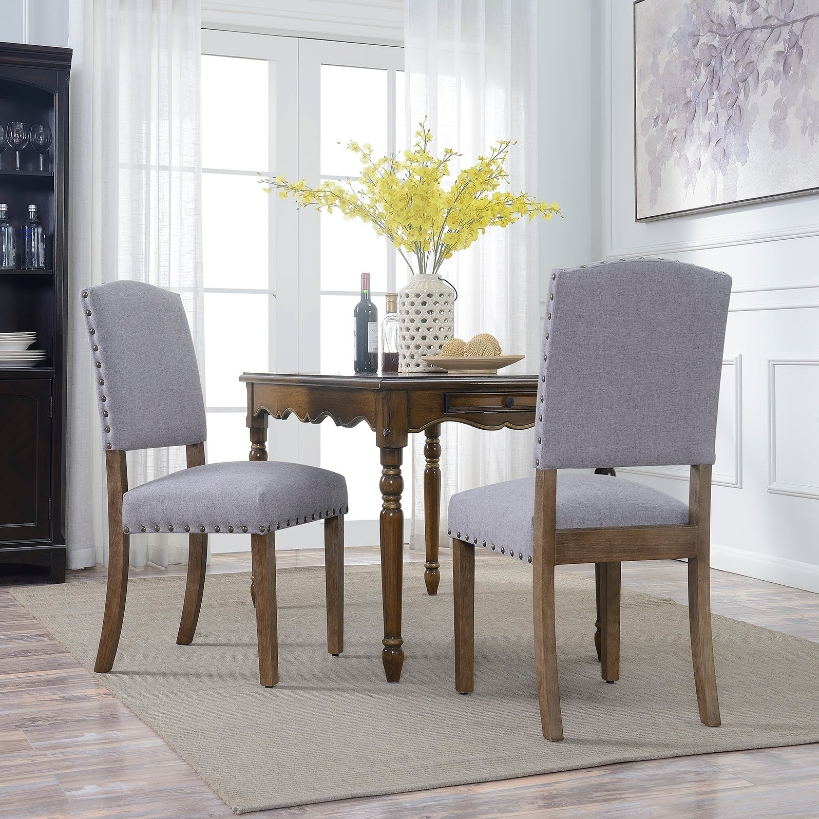 Widely Used Caira Black 7 Piece Dining Sets With Upholstered Side Chairs Regarding Shop Belleze Contemporary Classic Dining Chair Set Of (2) Linen (View 25 of 25)