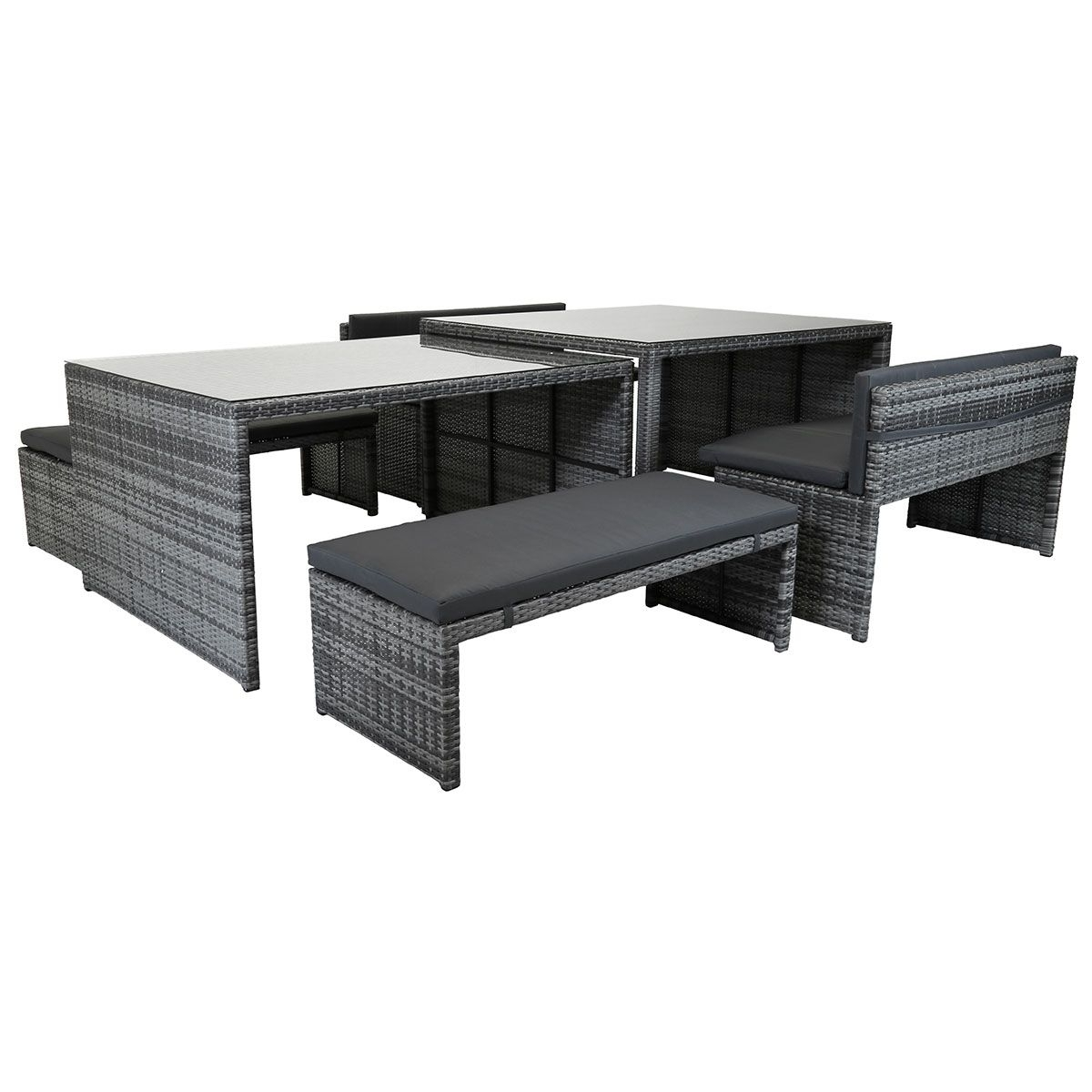 Widely Used Charles Bentley Rectangular Rattan Dining Set – Grey In Compact Dining Sets (View 25 of 25)