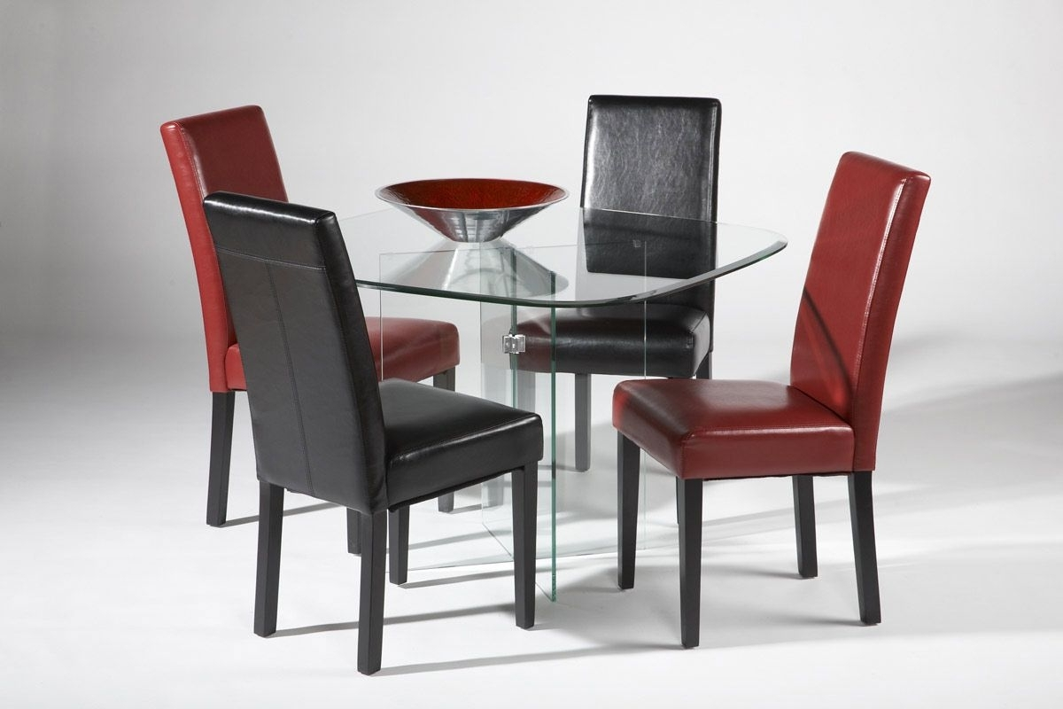 Widely Used Clear Glass Dining Tables And Chairs With Regard To High End Rectangular All Clear Glass Top Leather Modern Dining Set (View 24 of 25)