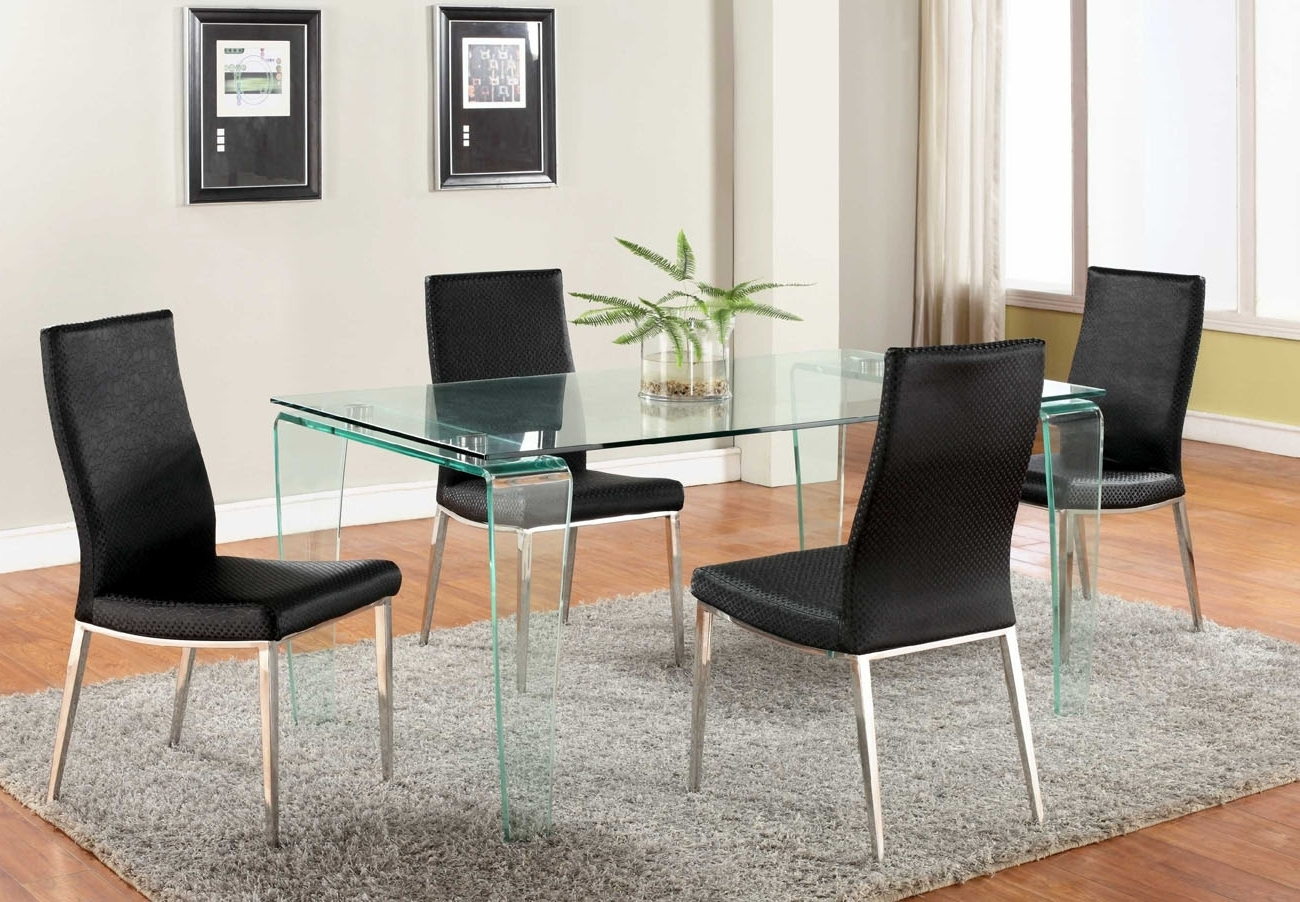Widely Used Contemporary All Glass Dining Table With Clear Top And Bent Legs Pertaining To Clear Glass Dining Tables And Chairs (View 12 of 25)