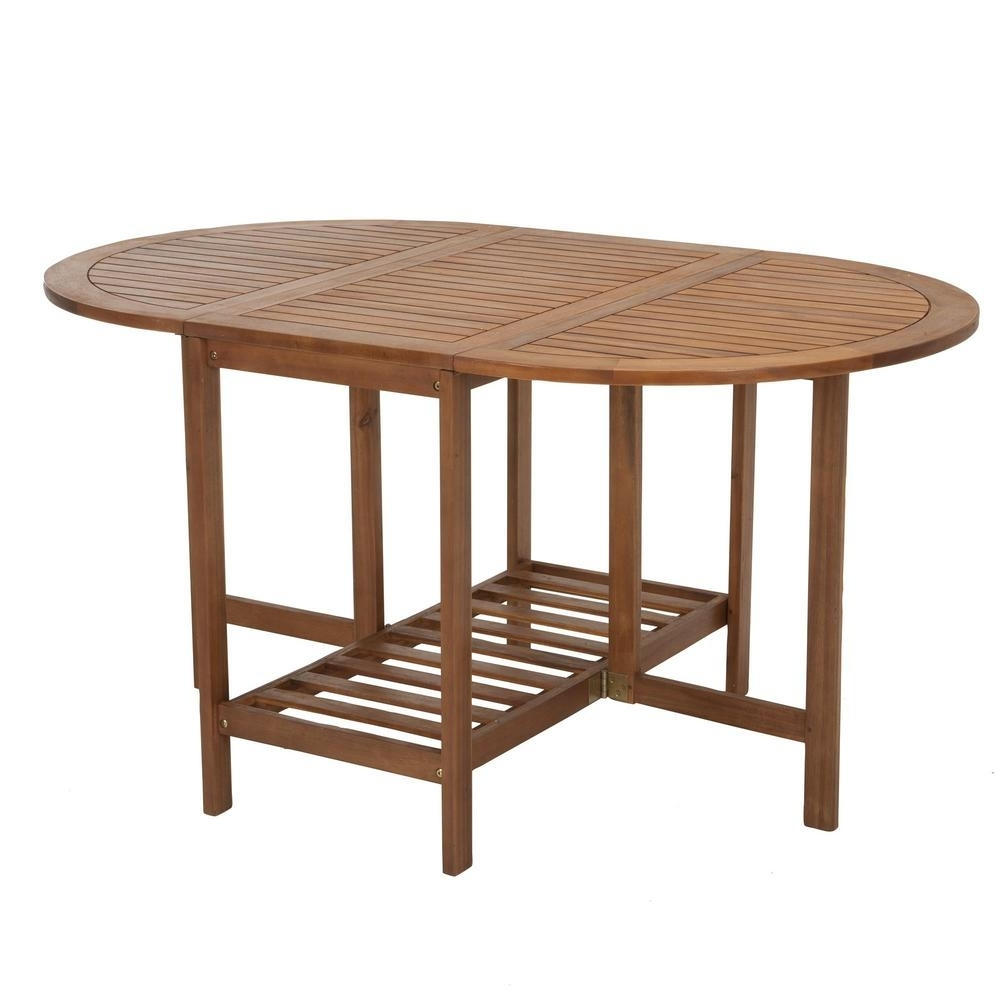 Widely Used Cosco Intellifit Acacia Brown Wood Folding Drop Leaf Patio Dining Regarding Wood Folding Dining Tables (View 20 of 25)