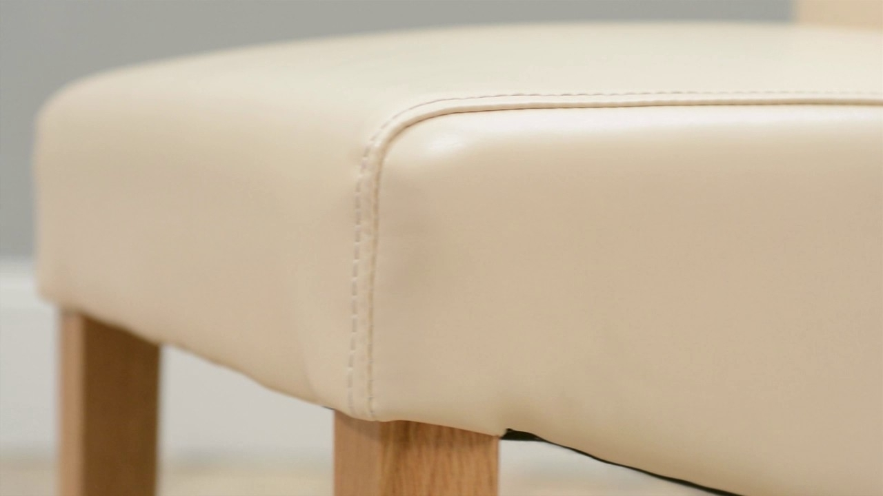 Widely Used Cream Leather Dining Chairs Pertaining To Light Oak Cream Leather Dining Chair – Cotswold Co Country Interiors (View 25 of 25)