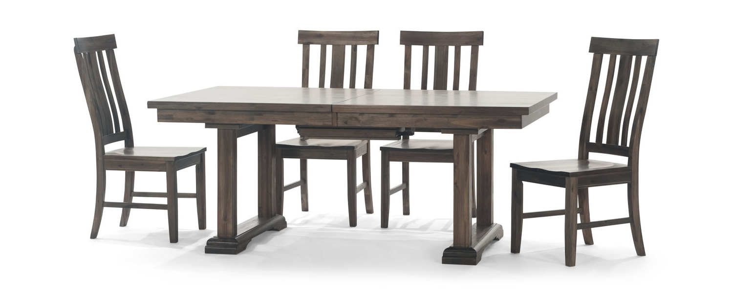 Widely Used Dawson Trestle Table With 4 Dining Chairs (View 5 of 25)