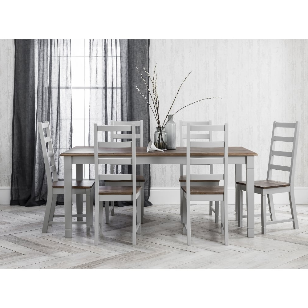 Widely Used Dining Tables With Grey Chairs Intended For Canterbury Dining Table With 6 Chairs In Silk Grey (View 12 of 25)