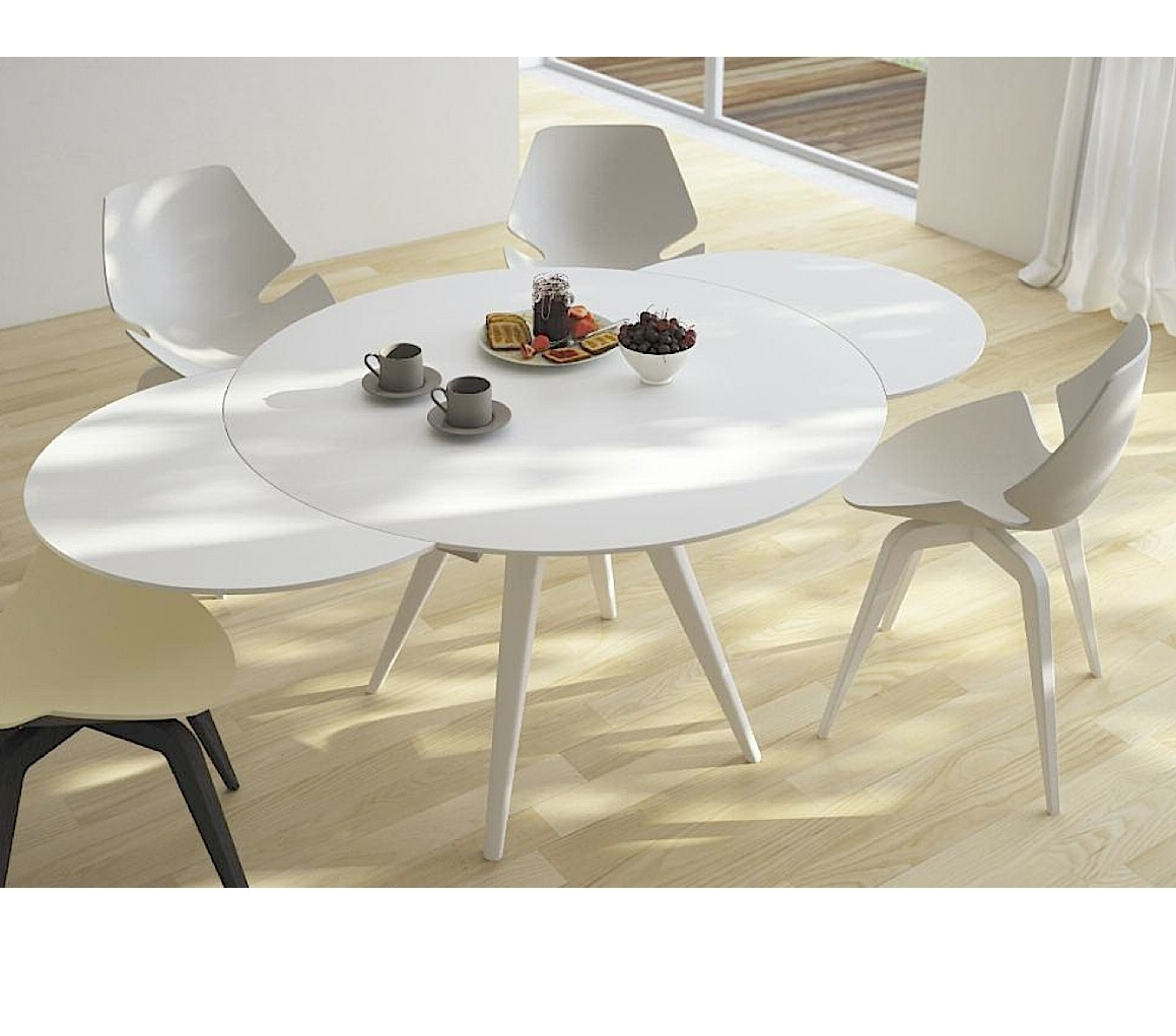 Widely Used Elan Metallo Round Extending Dining Table – Aflair For Home In White Round Extending Dining Tables (View 2 of 25)