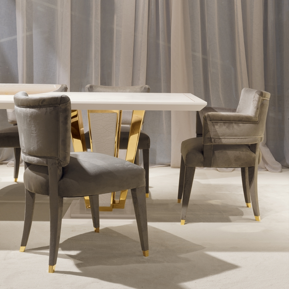 Widely Used Exclusive Contemporary Gold Plated Ivory Dining Table Set With London Dining Tables (View 24 of 25)