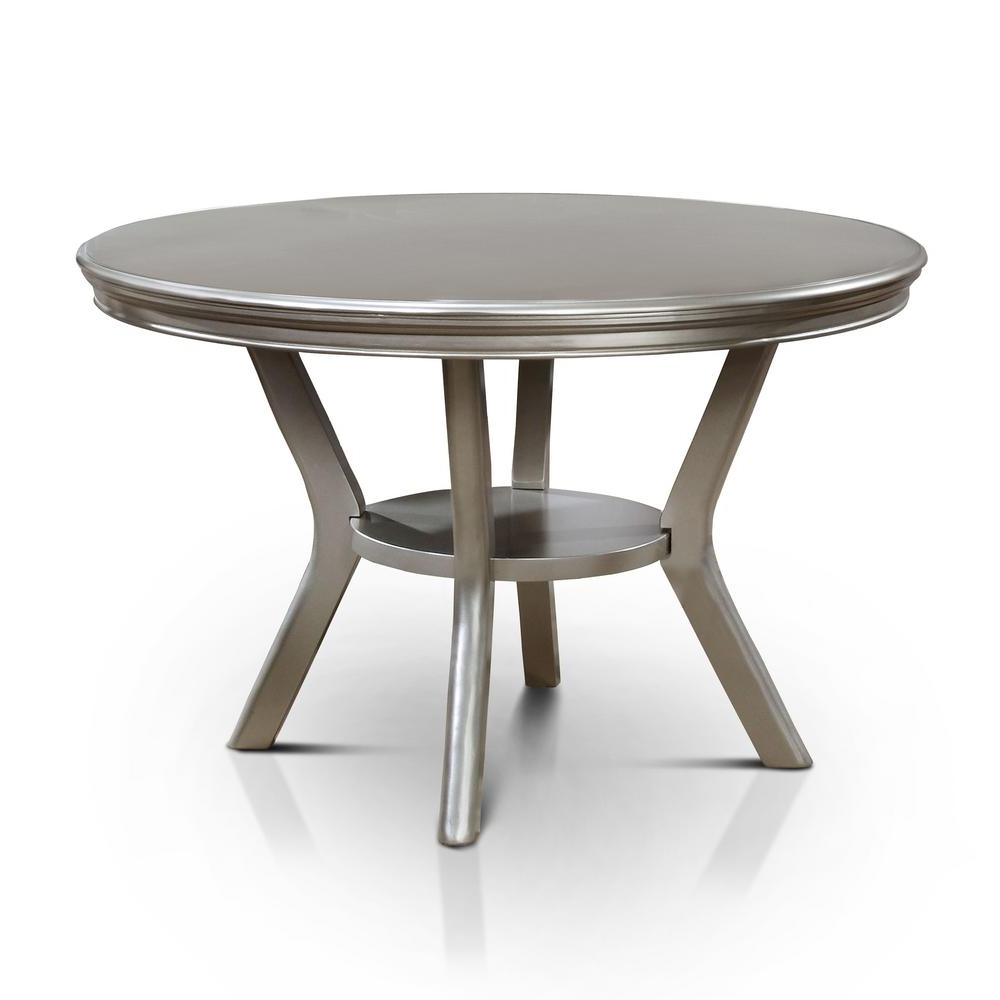 Widely Used Furniture Of America Farben Champagne Round Dining Table Idf 3219Rt Inside Round Dining Tables (View 20 of 25)