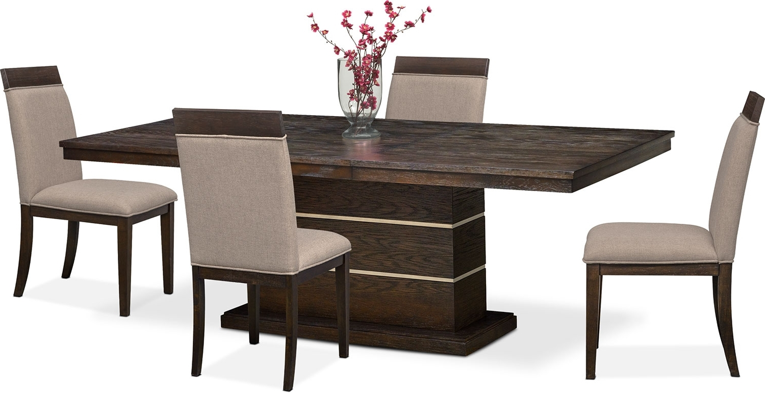 Widely Used Gavin Pedestal Table And 4 Side Chairs – Brownstone (View 24 of 25)