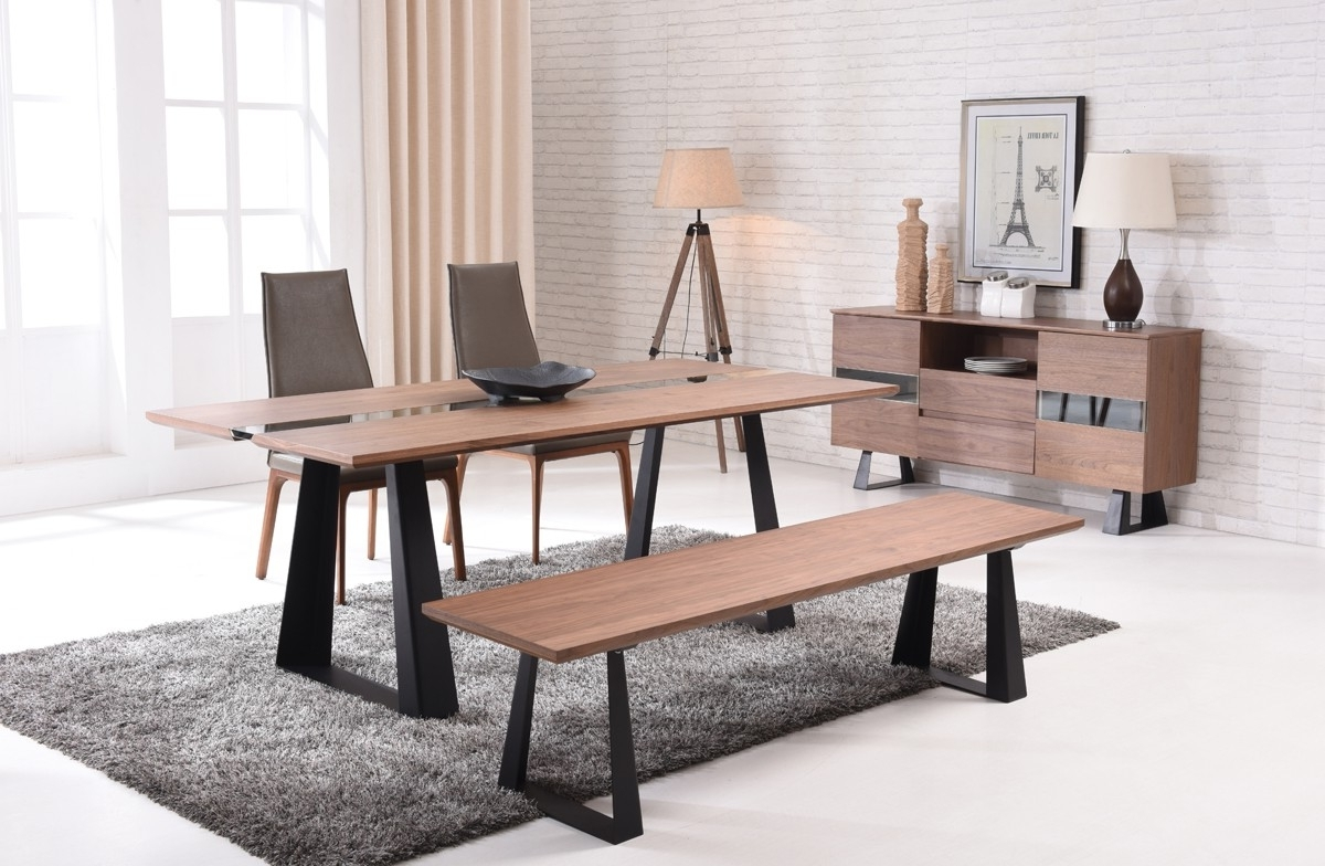 Widely Used Glass Dining Tables With Wooden Legs Pertaining To Modern Walnut And Glass Dining Table On Black Mate Legs Houston (View 17 of 25)