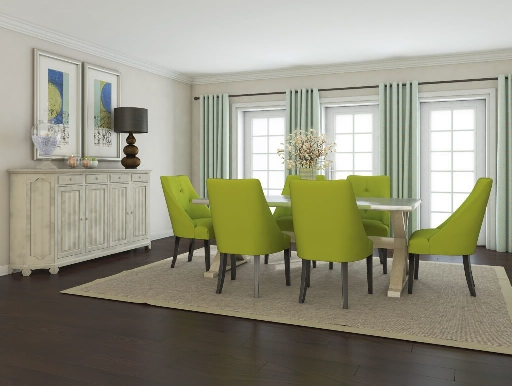Widely Used Green Dining Tables With Dining Room: Contemporary Bright Dining Room Featuring Modern Lime (View 25 of 25)