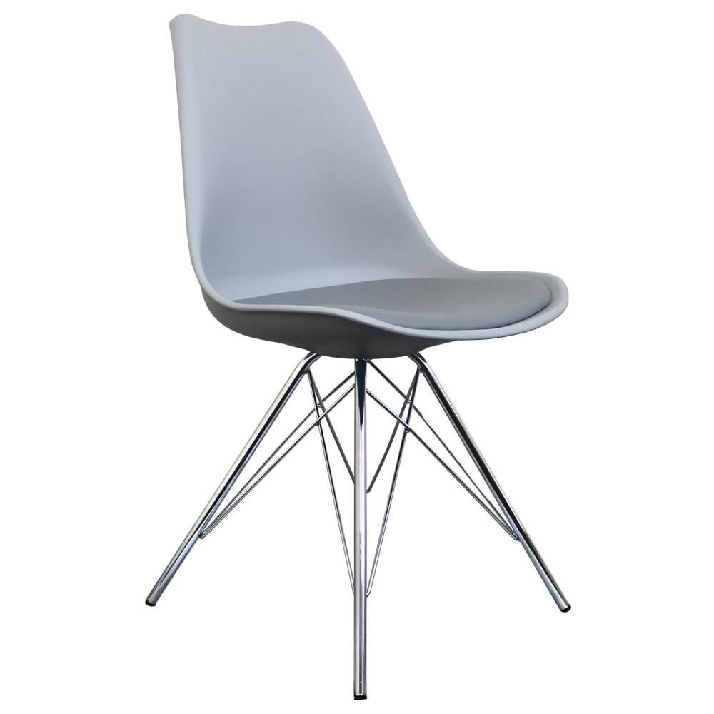 Widely Used Grey Dining Chairs Intended For Buy Eiffel Inspired Light Grey Dining Chair With Chrome Metal Legs (View 23 of 25)