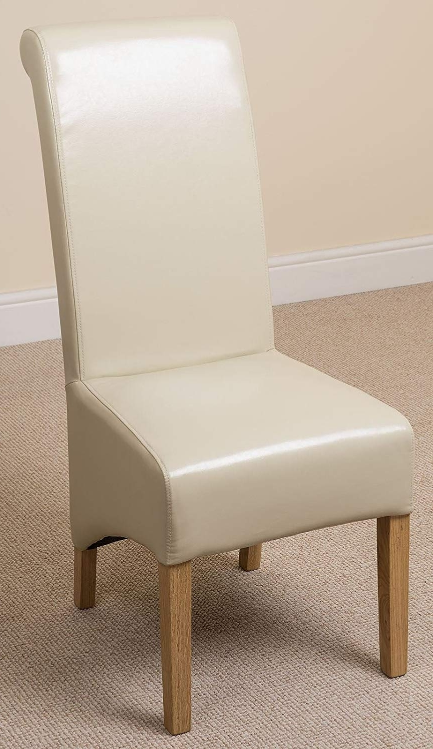 Widely Used Ivory Leather Dining Chairs For Amazon – X6 Montana Scroll Back Leather Dining Chairs (Ivory) (View 10 of 25)