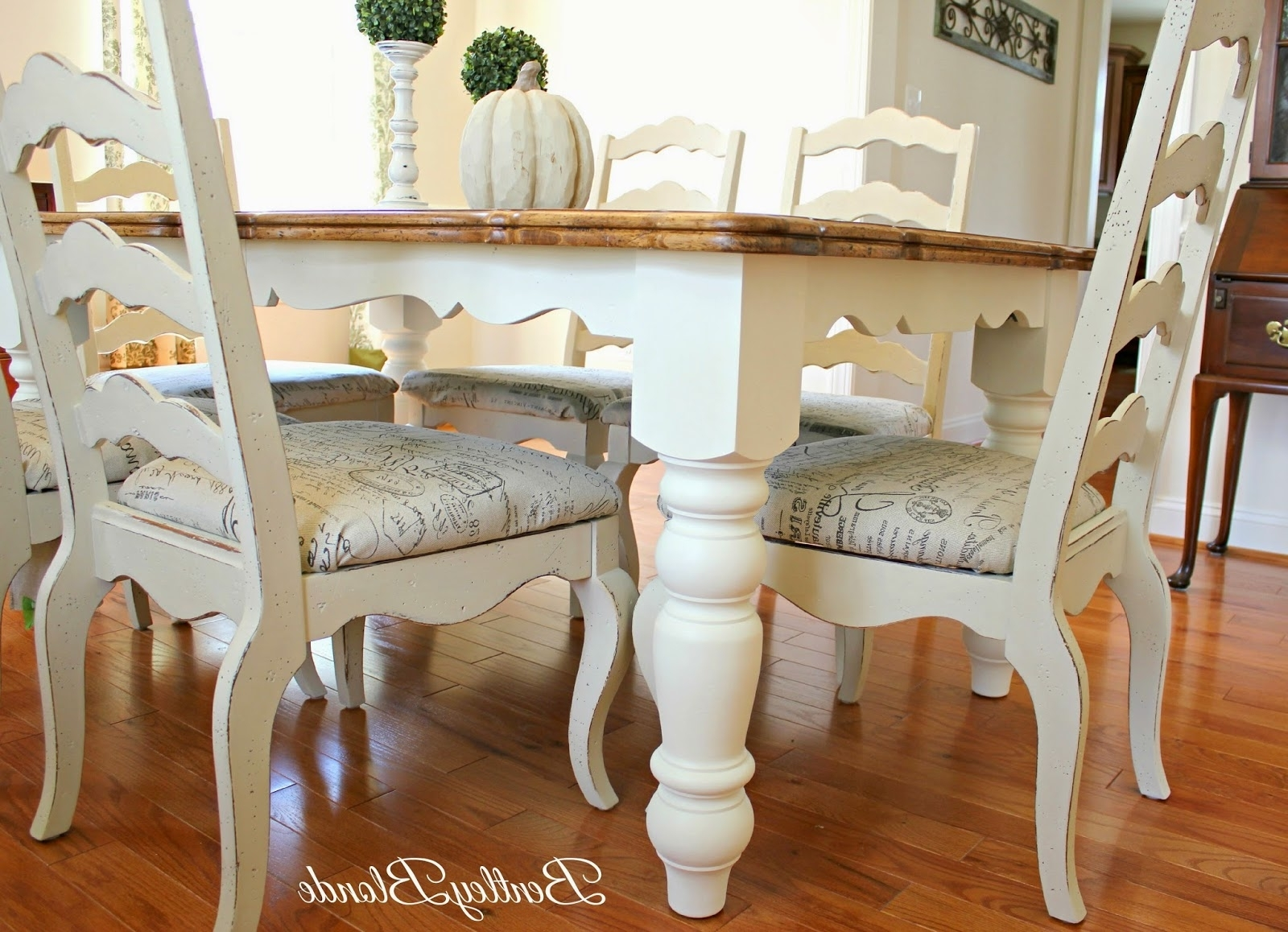 Widely Used Ivory Painted Dining Tables Intended For Bentleyblonde: Diy Farmhouse Table & Dining Set Makeover With Annie (View 19 of 25)