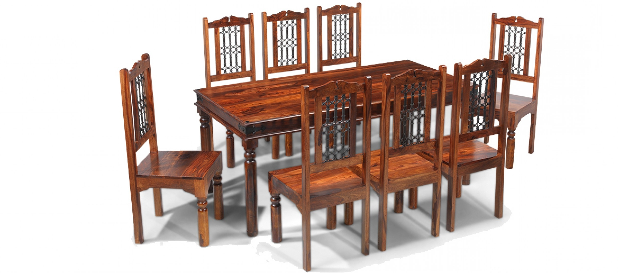 Widely Used Jali Sheesham 180 Cm Thakat Dining Table And 8 Chairs (View 24 of 25)