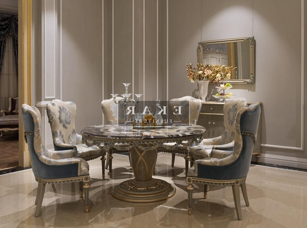 Widely Used Kitchen Dining Tables And Chairs Within Ekar Furniture Round Marble Table – Dining Table – Luxury Furniture (View 18 of 25)