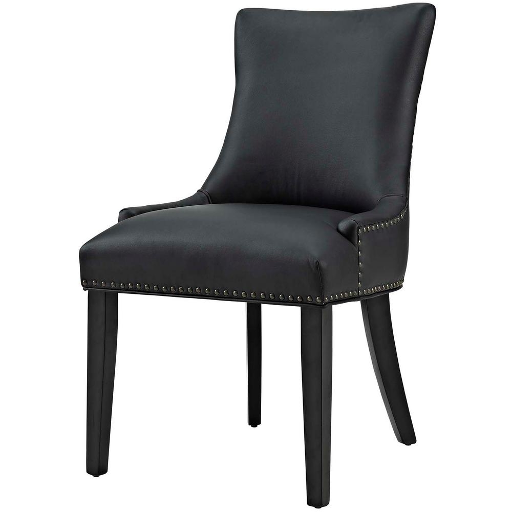 Widely Used Leather Dining Chairs In Modway Marquis Black Faux Leather Dining Chair Eei 2228 Blk – The (View 25 of 25)
