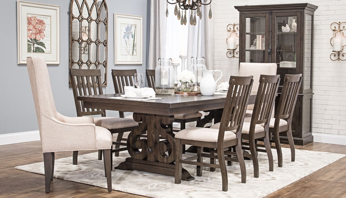 Widely Used Magnolia Home Double Pedestal Dining Tables Throughout Magnolia Dining Collection – Home Zone Furniture (View 24 of 25)