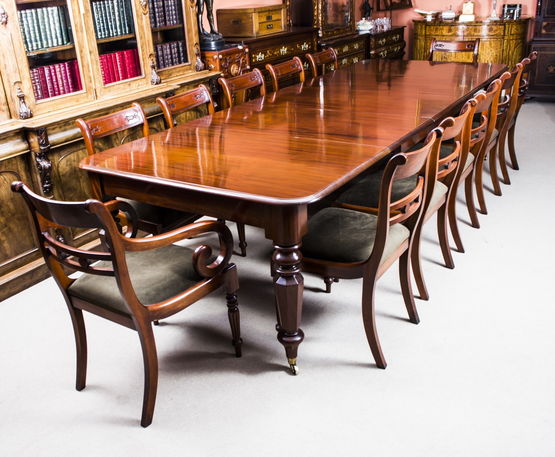 Widely Used Mahogany Extending Dining Tables And Chairs Throughout Antique Wiliam Iv Mahogany Extending Dining Table & 12 Chairs (View 25 of 25)