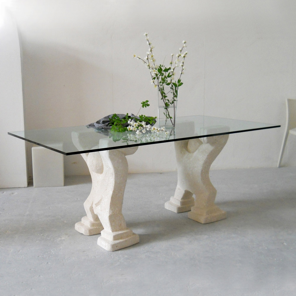Widely Used Modern Dining Table With Vicenza Natural Stone Base Medusa,crystal Top In Crystal Dining Tables (View 6 of 25)