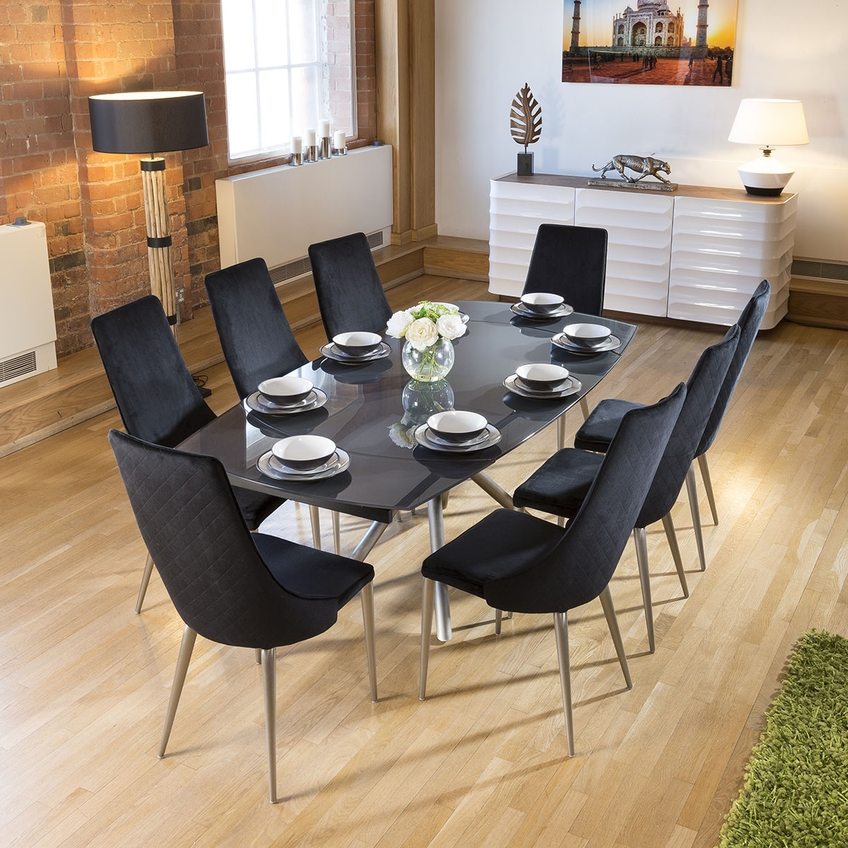 Widely Used Modern Grey Glass Extending Dining Table Set + 8 Black Velvet Chairs For Extending Dining Table Sets (View 23 of 25)