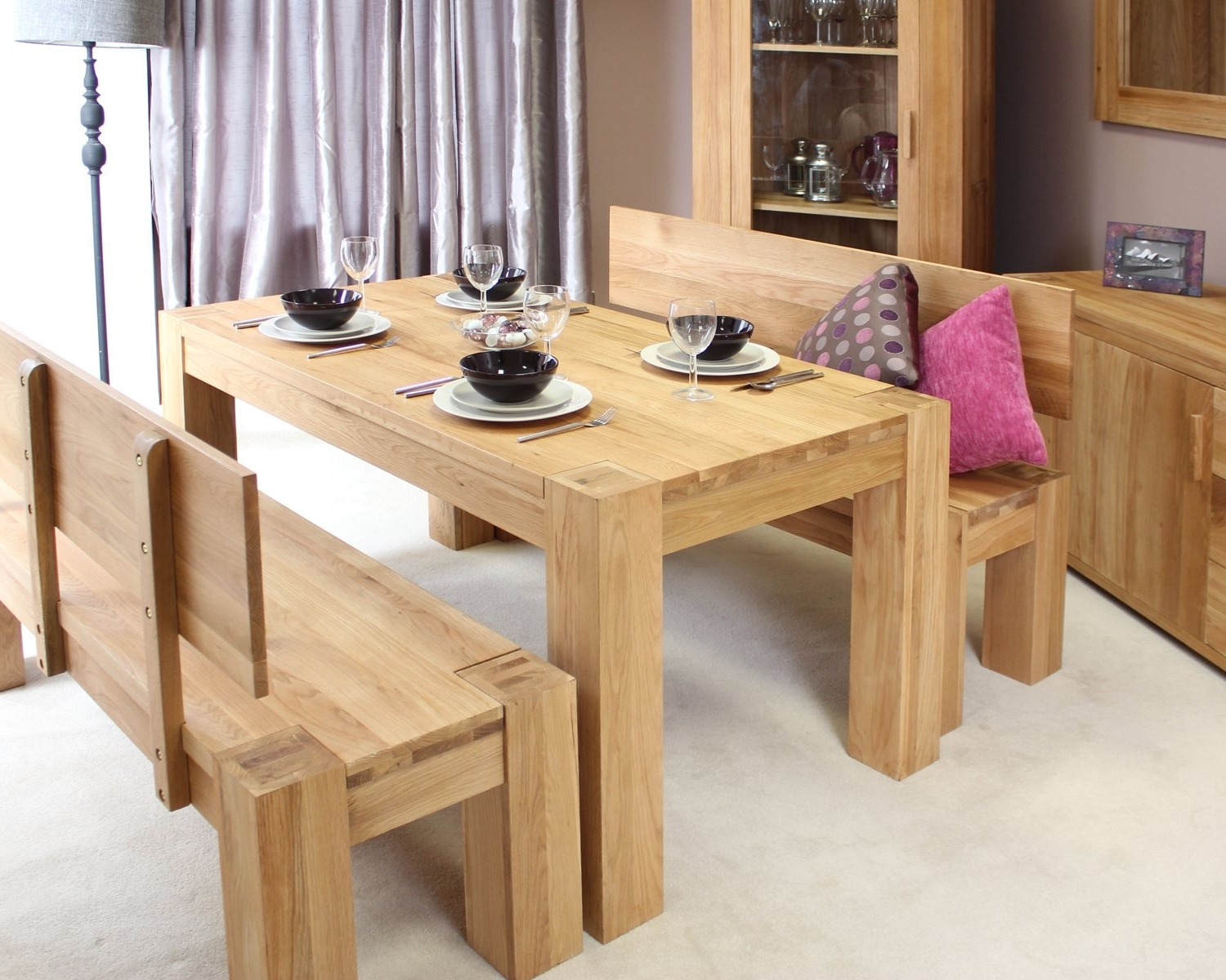 Widely Used Oak Dining Tables And Chairs In Palma Solid Chunky Oak Dining Room Furniture Dining Table Blue (View 25 of 25)