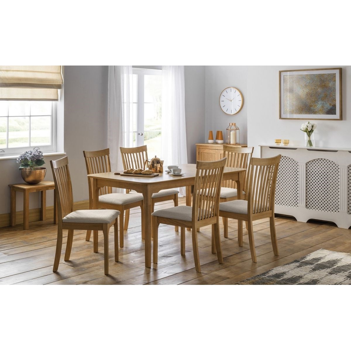Widely Used Oak Dining Tables With 6 Chairs Regarding Naples Extending Oak Dining Table Set With 6 Chairs – Furnicomp (View 23 of 25)