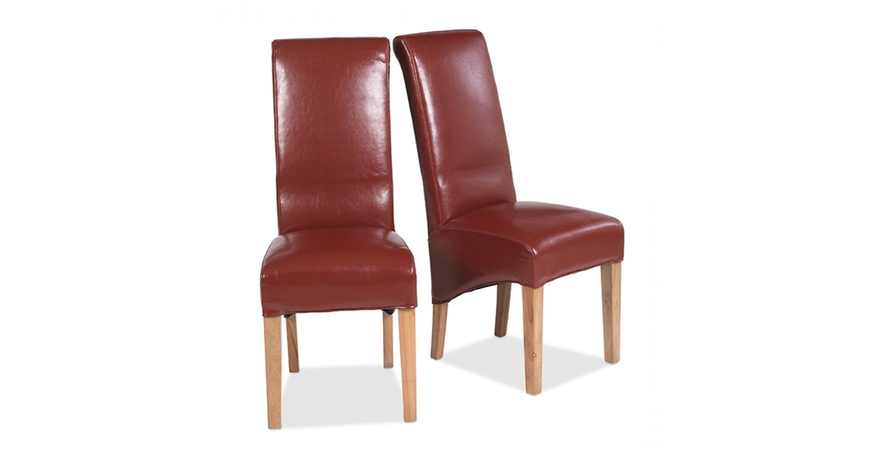 Widely Used Oak Leather Dining Chairs With Cuba Oak Bonded Leather Dining Chairs Red – Pair – Lifestyle (View 4 of 25)