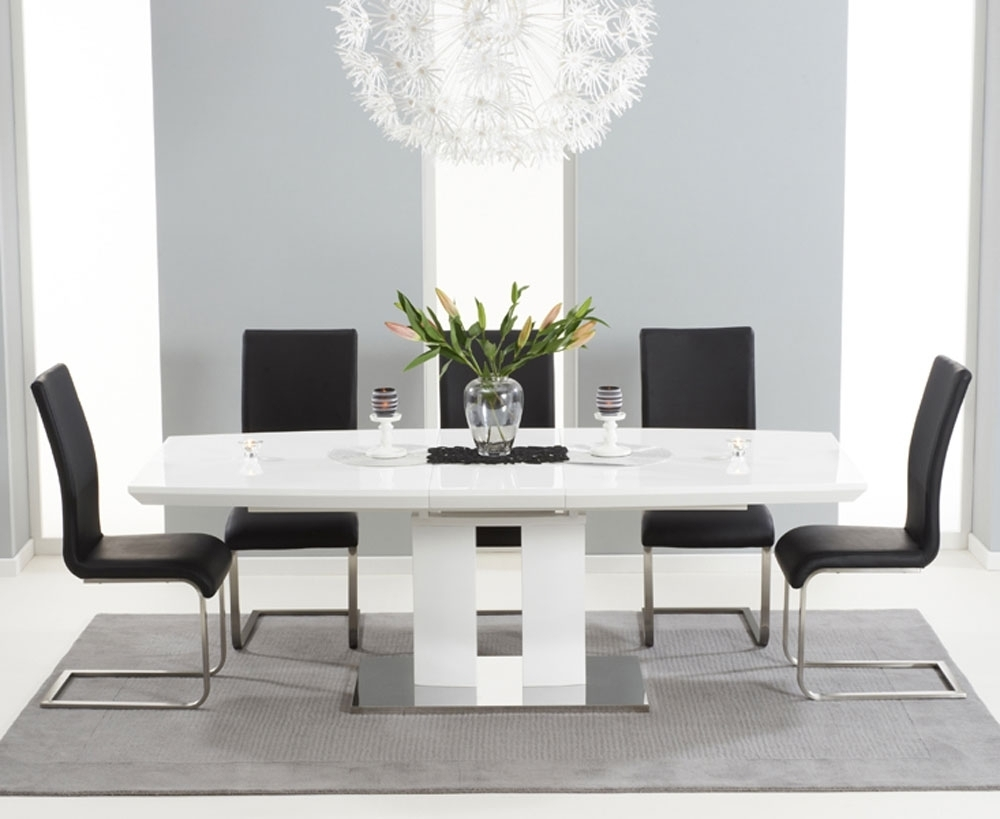 Widely Used Rossini 180Cm High Gloss Extending Dining Table With 6 Malibu Black Inside Black Gloss Dining Tables And 6 Chairs (View 12 of 25)