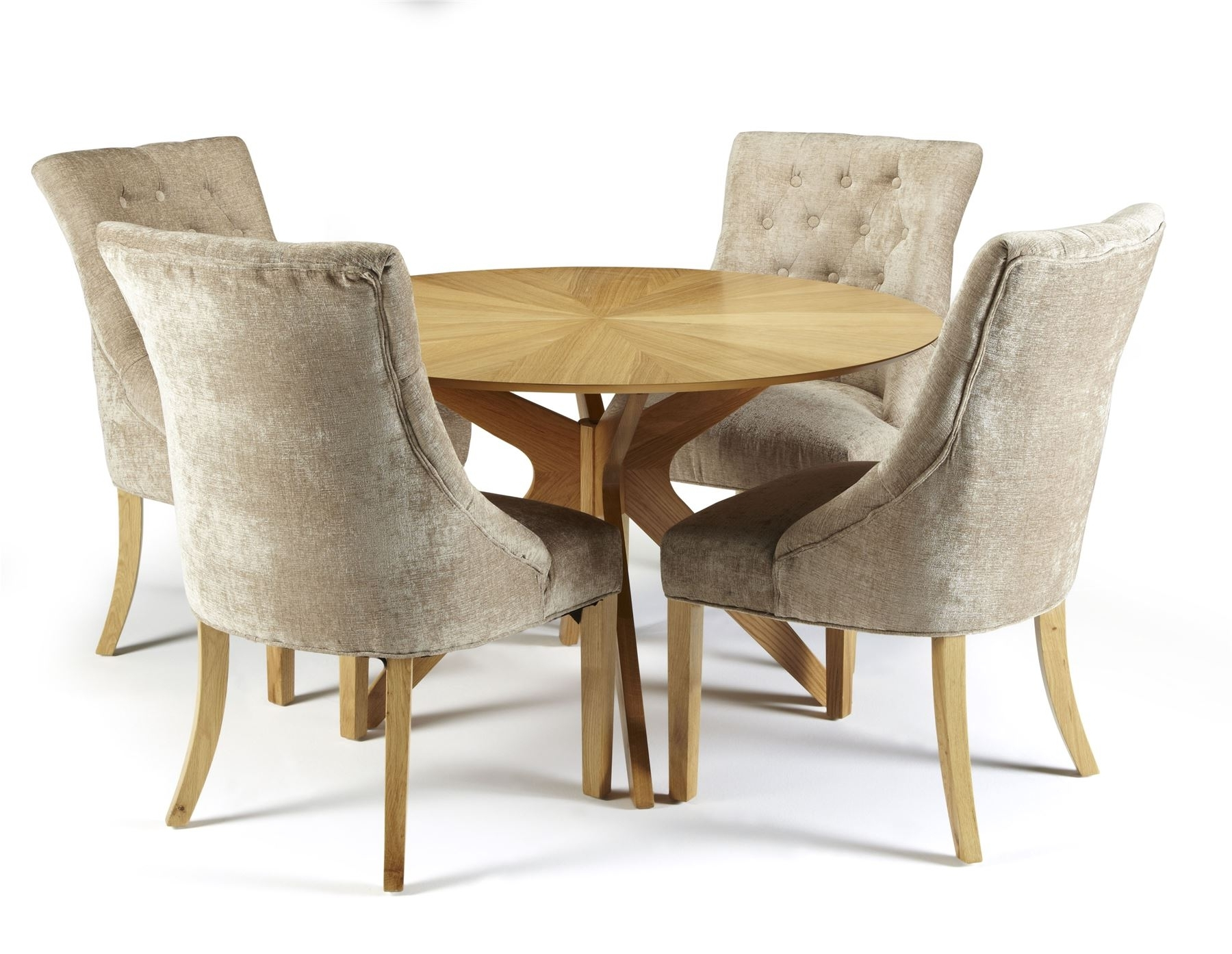 Widely Used Round Oak Dining Tables And Chairs Within Bexley Round Oak Dining Table And 4X Hampton Mink Fabric Dining (View 11 of 25)
