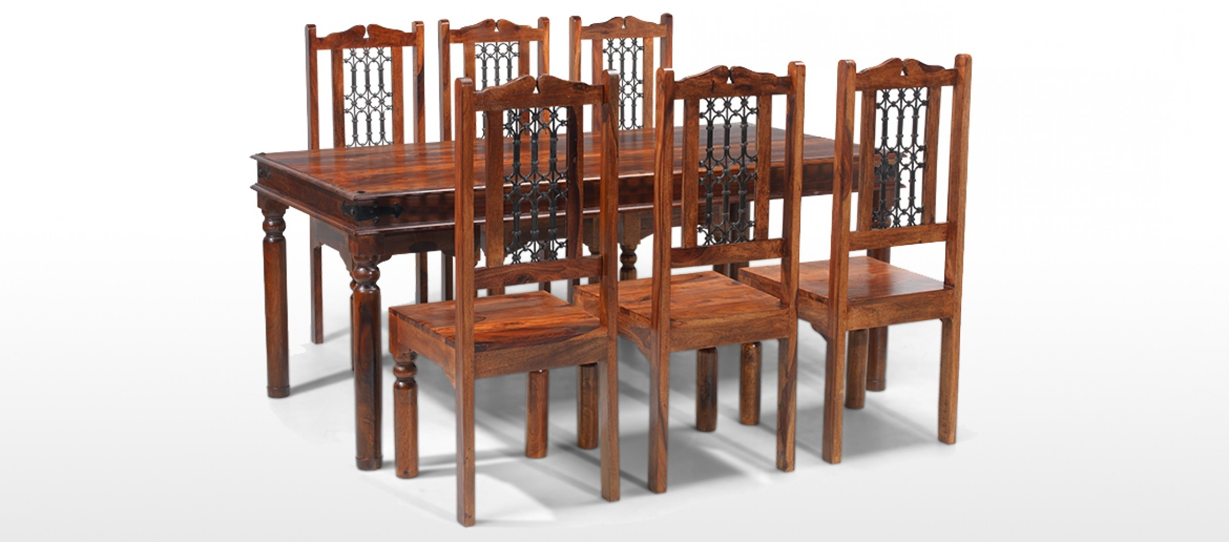 Widely Used Sheesham Dining Tables 8 Chairs Pertaining To Jali Sheesham 180 Cm Thakat Dining Table And 6 Chairs (View 25 of 25)