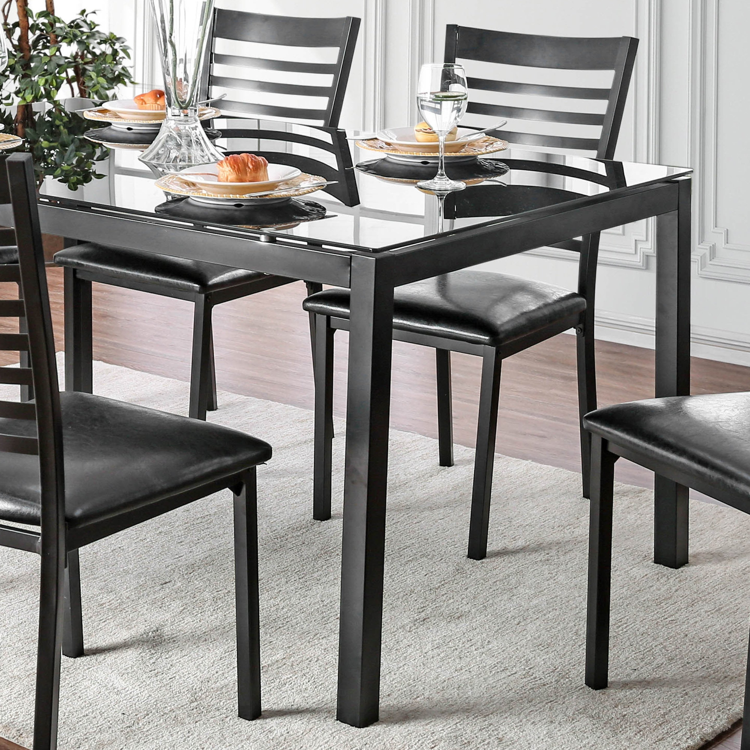 Widely Used Shop Furniture Of America Parker 60 Inch Metal Glass Top Dining Inside Ina Matte Black 60 Inch Counter Tables With Frosted Glass (View 7 of 25)