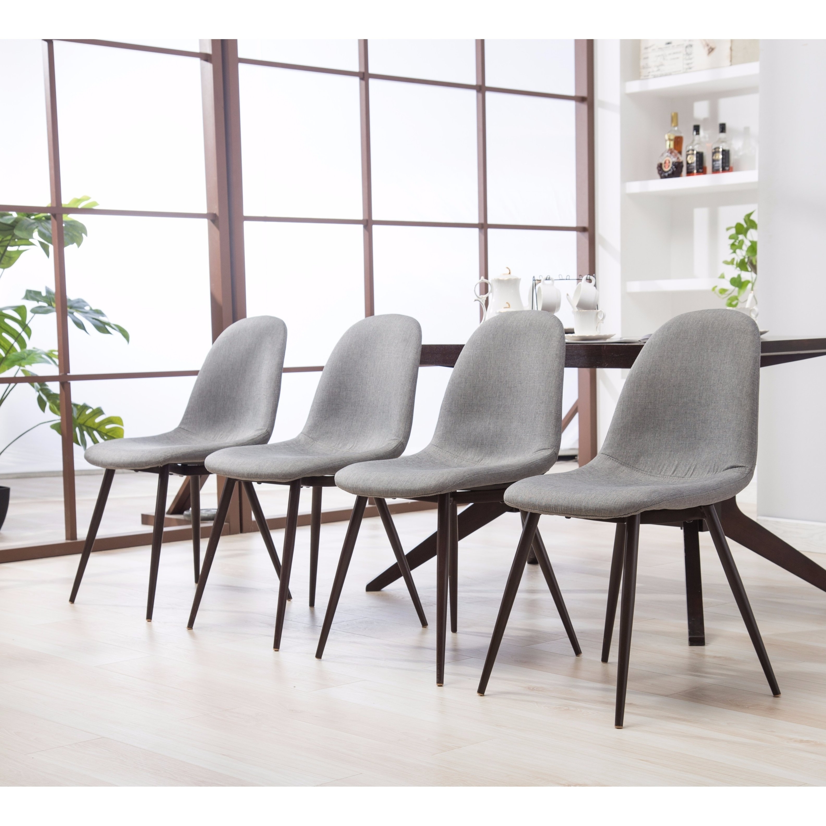 Widely Used Shop Lassan Modern Contemporary Blue Fabric Dining Chairs, Set Of 4 In Caden 7 Piece Dining Sets With Upholstered Side Chair (View 10 of 25)