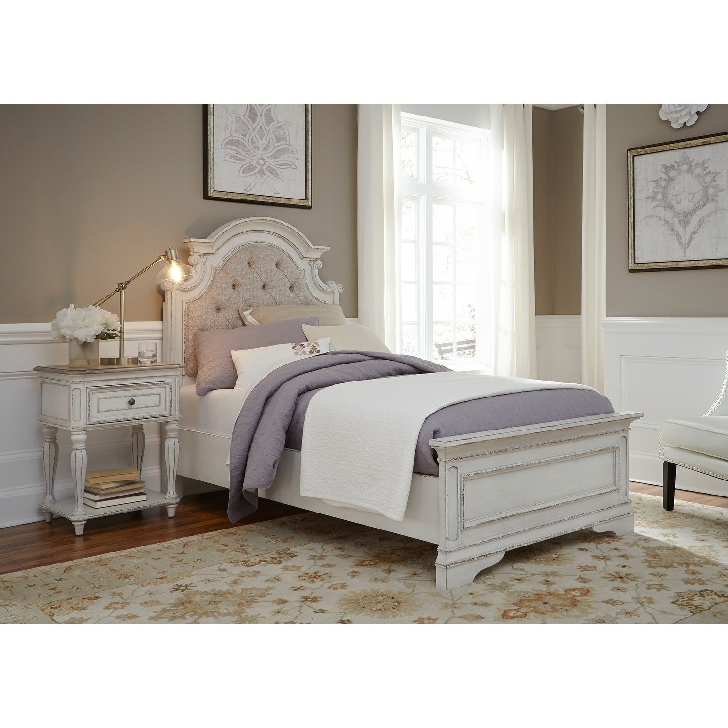 Widely Used Shop Magnolia Home Antique White Upholstered Bed – On Sale – Free Pertaining To Magnolia Home White Keeping 96 Inch Dining Tables (View 25 of 25)