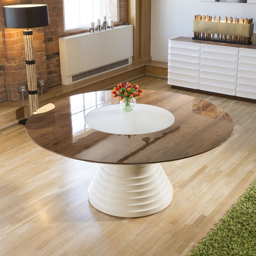 Widely Used Stunning Large Round Walnut Lacquered Dining Table Glass Insert  (View 25 of 25)