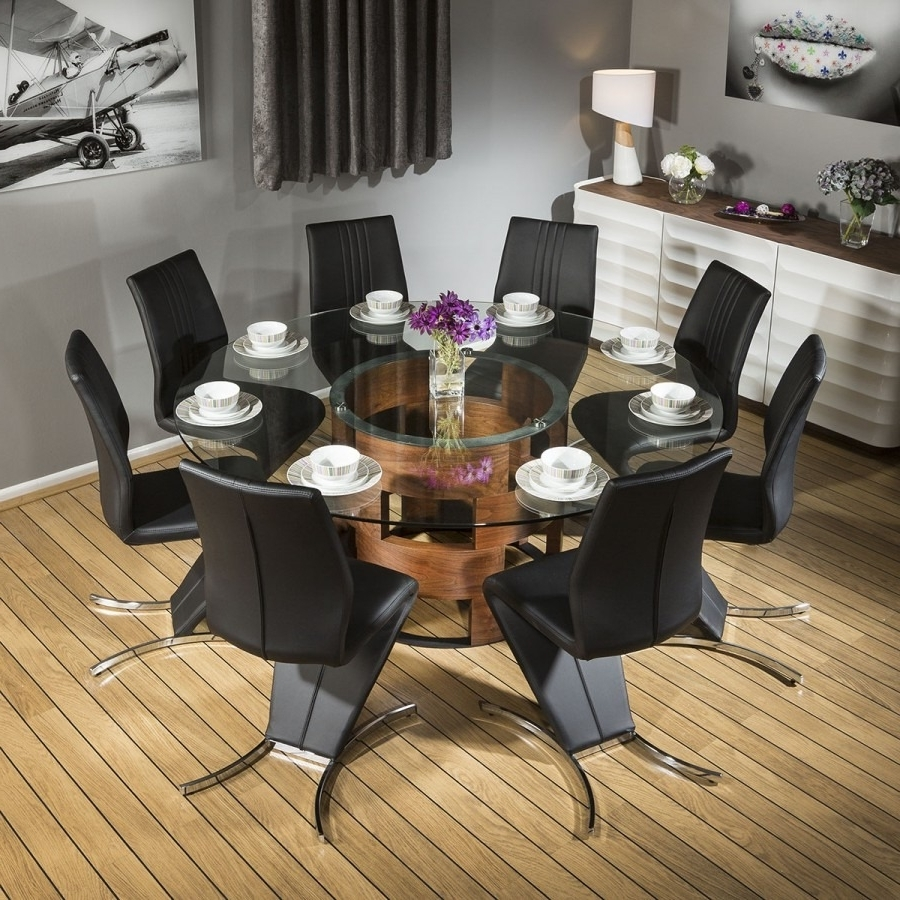 Widely Used Stunning Round Glass Top Walnut Dining Table + 8 Black Z Chairs 601 In Walnut Dining Tables And Chairs (View 25 of 25)