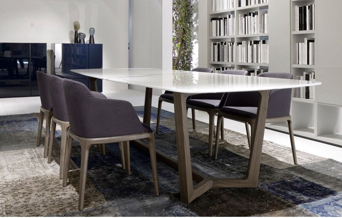 Widely Used Stylish White Marble Dining Table And Dark Purple Upholstered Chairs Intended For Dining Tables And Purple Chairs (View 24 of 25)